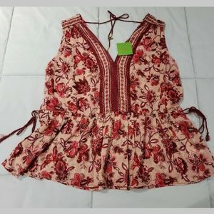 Kate Spade Paisley Blossom Top Size L NWT